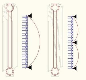 Распределение механической нагрузки на вертикальный канал алюминиевого радиатора TENRAD